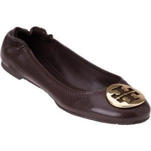 Tory Burch Reva Logo Brown Leather Ballet Flats